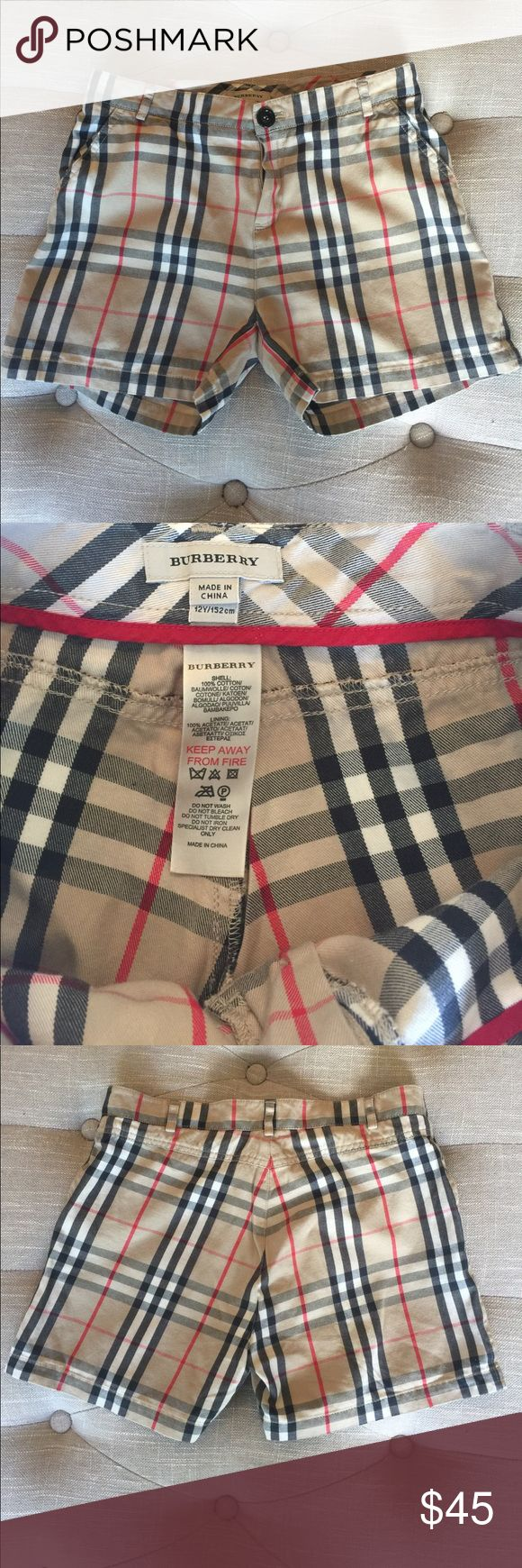 Burberry girls shorts. Authentic girls Burberry shorts with side pockets and no back pockets. Good condition. Burberry Shorts Skorts