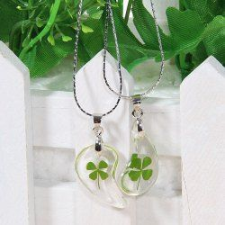 $2.57 Transparent Water-drop Shaped Pendant Couple Necklace with Four Leaf Clover Pattern 2PCS