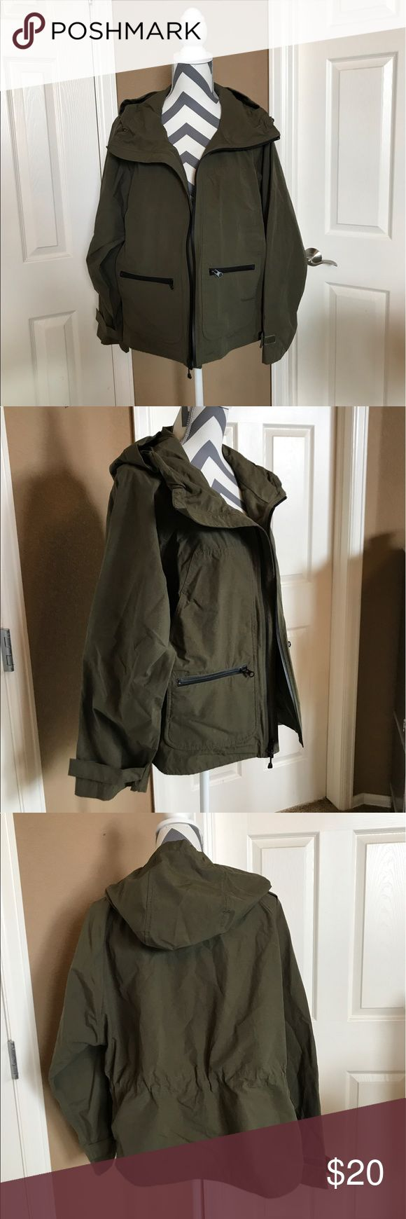 Gap Lightweight women's rain jacket This women's rain jacket from the Gap is lightweight and easy to throw on at a moments notice.  Roomy fit.  Olive green with black accents.  It also packs really nicely. GAP Jackets & Coats