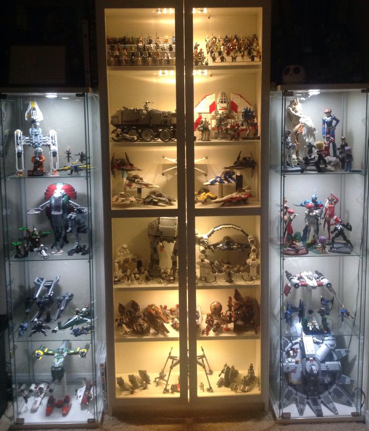 My LEGO Star Wars collection in display cases.