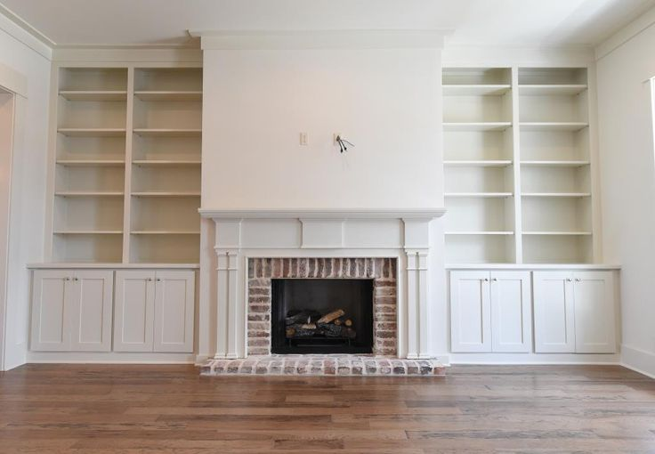Custom Made Cypress Mantle With Built In Bookcases Built