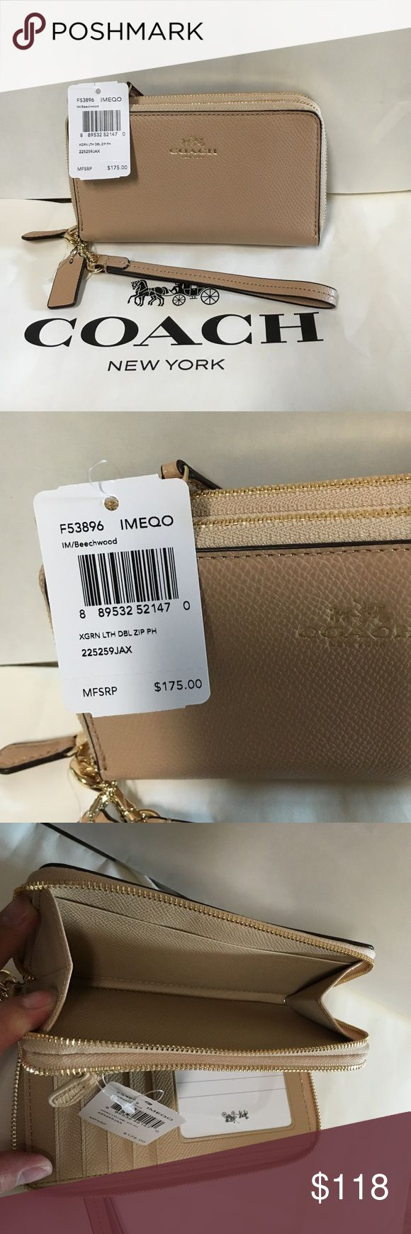 Coach wristlet/wallet double zippers nude color Authenic brand new with tag. Nude/neutral color. Lovely Coach Bags Clutches & Wristlets