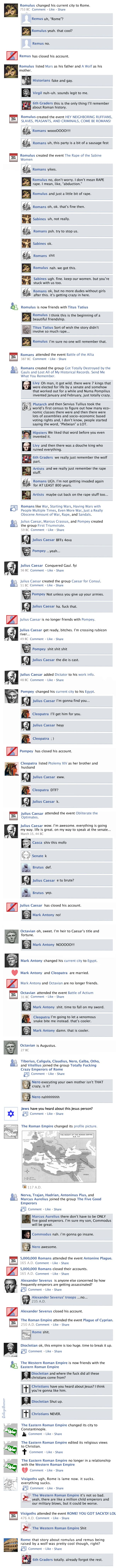 Facebook History of the World. Kind of hilarious.