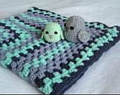 Crochet Afghan Baby Blanket & FREE Mommy- and Babybird, mint, brown, grey 30 x 30