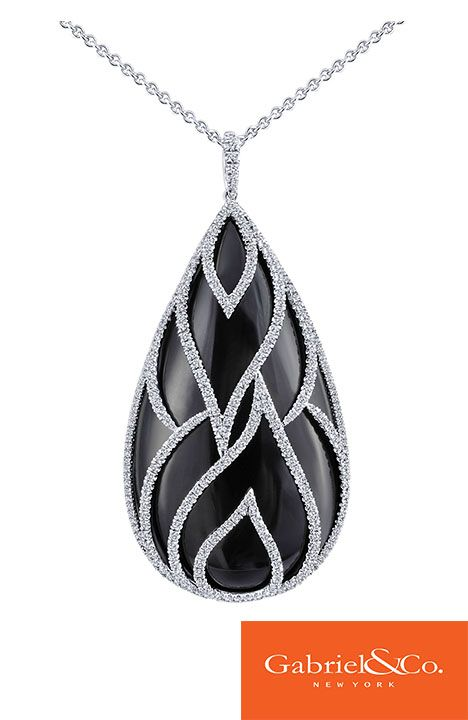 Flawless 18k White Gold Diamond Onyx Necklace by Gabriel & Co. that is such a big, bold, and beautiful statement! The details and designs in this necklace are absolutely gorgeous and eye catching. This necklace is great for a Black Tie Event!