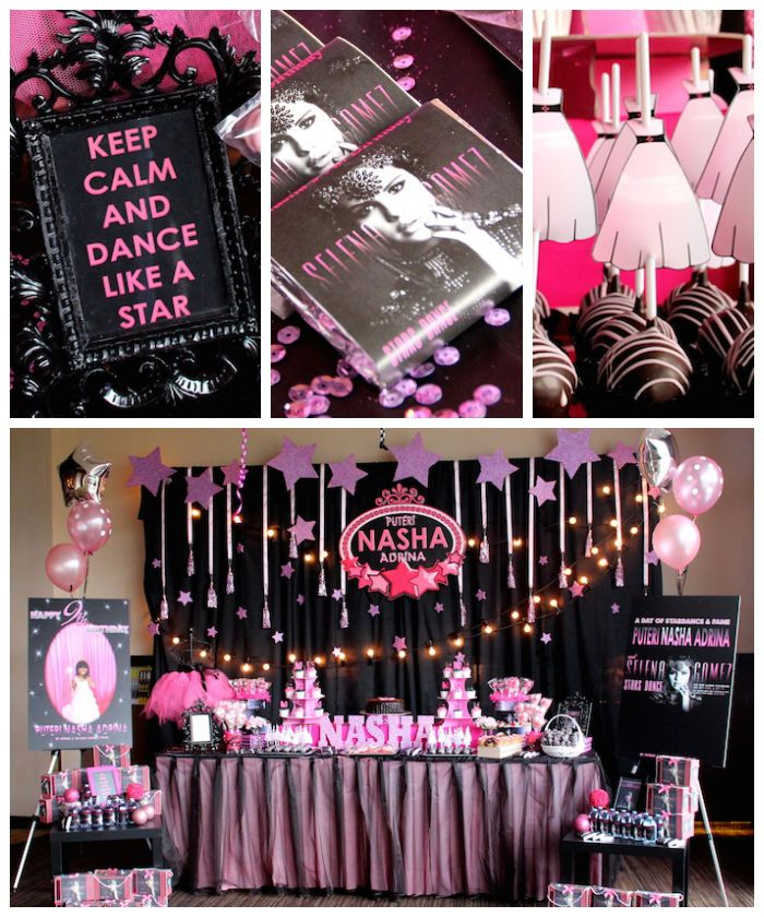 Selena Gomez Rock Star birthday party with So Many Cute Ideas via Kara's Party Ideas | Cake, desserts, cupcakes, favors, games, and MORE! Ka...