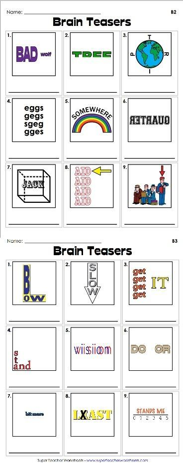 Brain teasers are a great way to get your students to use their critical thinking skills. Check out our clever rebus puzzles - we're sure your students are going to like them!: