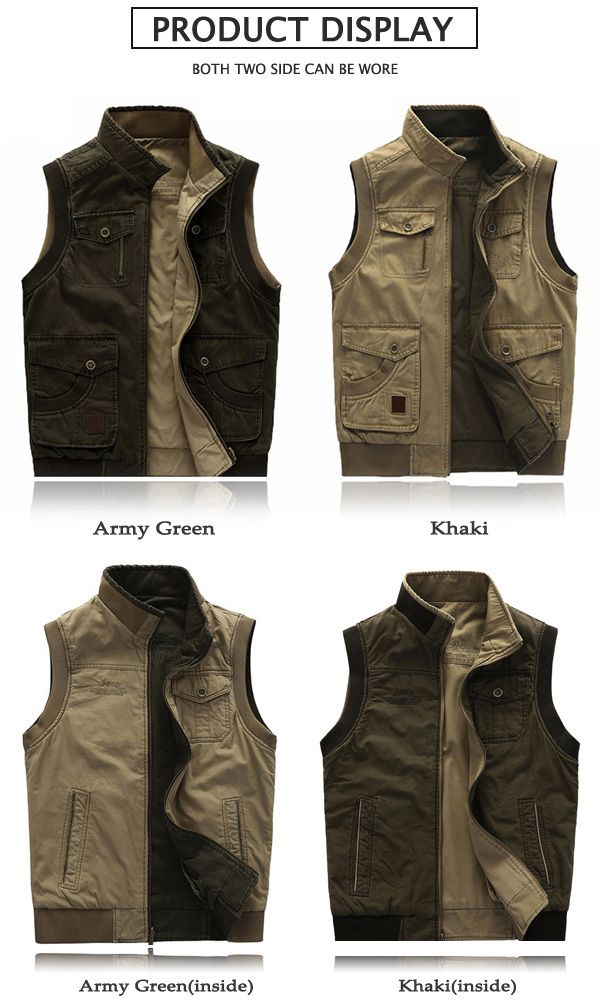 AFSJEEP Mens Big Size Casual Outdoor Washed Double Sided Wear Multi Functions Vest