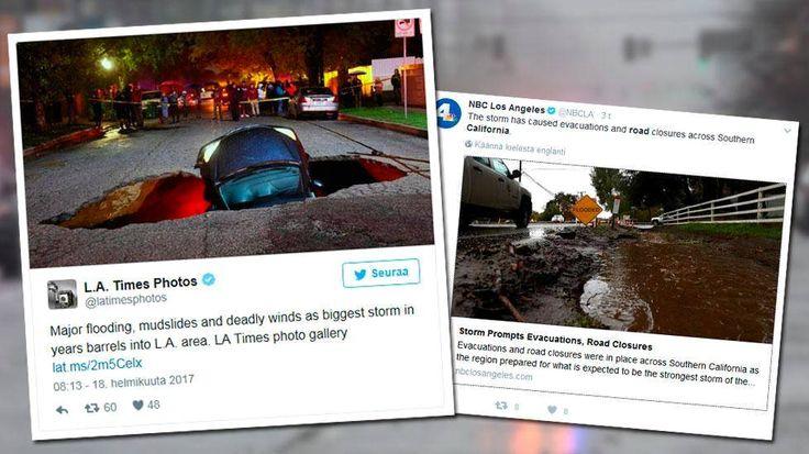 Yhdysvaltain Kaliforniaa riepottelee pahin myrsky kuuteen vuoteen, ja ainakin kaksi ihmistä on kuollut. Los Angelesissa kaksi autoa tippui tiehen ilmestyneeseen reikään.