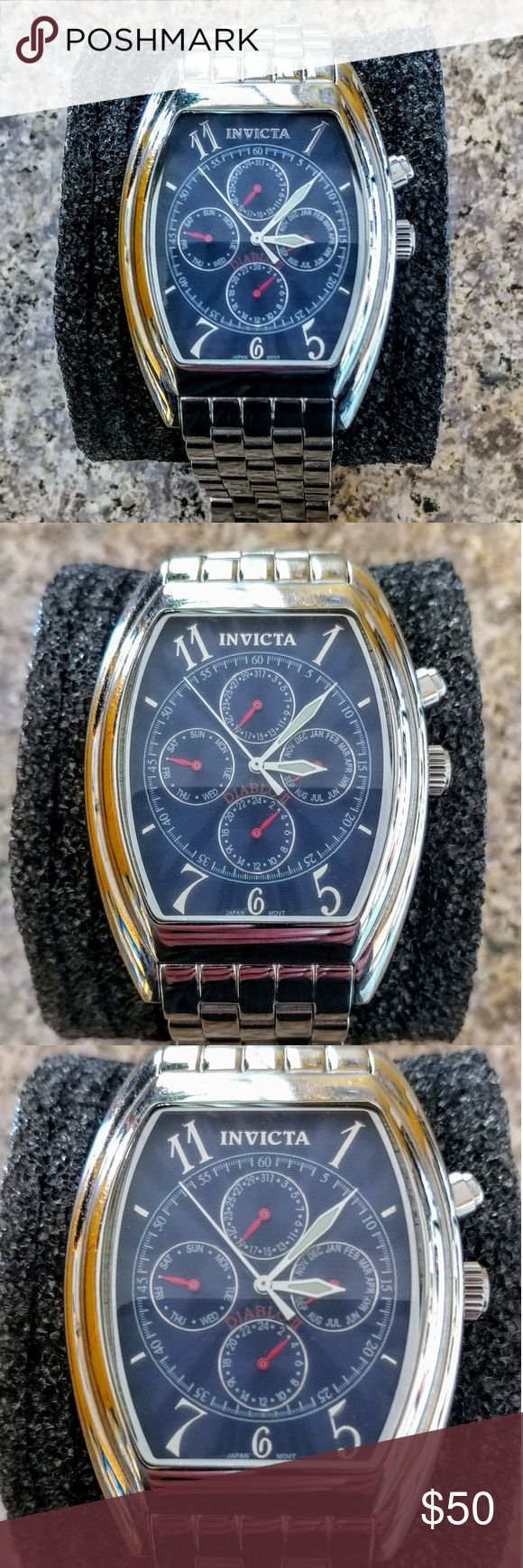 Invicta Diablo II 9052 Stainless Steel Watch Invicta Diablo II 9052 Stainless Steel Watch HARD TO FIND !!! Great Condition minor scratches on band as shown in photos, face in excellent condition. May need battery No box. Invicta Accessories Watches