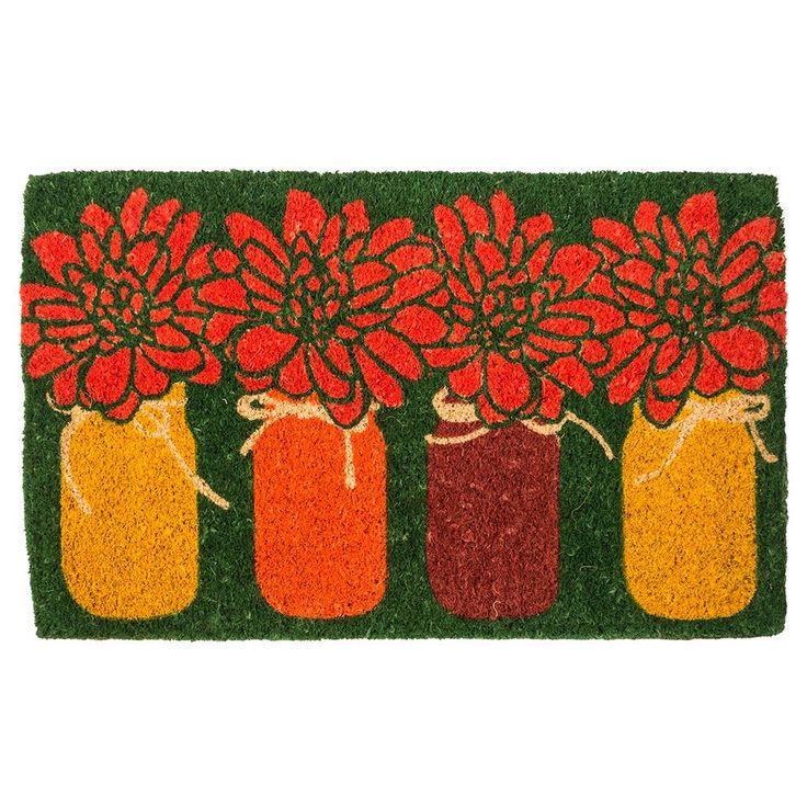Mums 18 in. x 30 in. Hand Woven Coconut Fiber Door Mat, Orange/Red/Dark Green