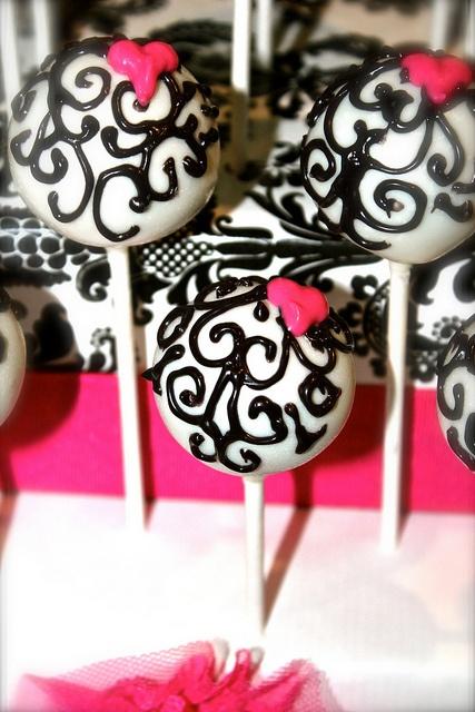 Black and White Damask Cake Pops by PetiteDelightsbyMichele, via Flickr