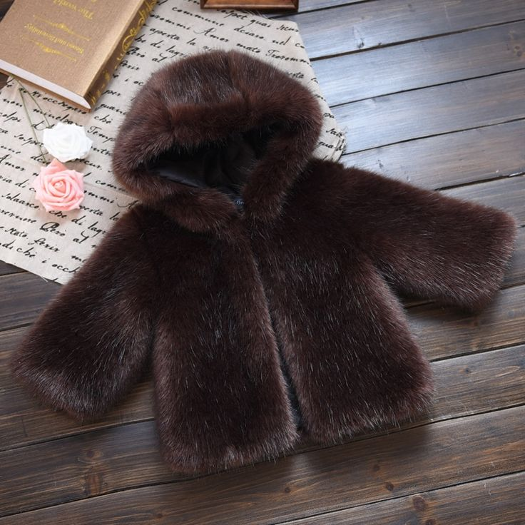New Arrival Boys Faux Fur Hoodies Winter Jacket Faux Mink Fur Girls Warm Coat Kid Winter Clothes Toddler Fur Clothes Brown Gray