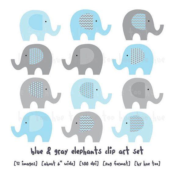 elephants clip art, chevron polka dots elephant clipart,  gray baby blue aqua turquoise, cute images for invitations, instant download - 082