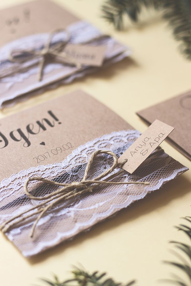 Custom vintage styled wedding invitation card with lace, made by Zboznovits visuals.