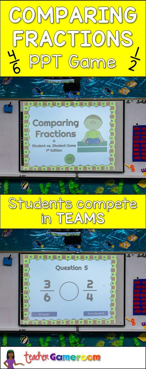 Practice comparing fractions. Students play in teams to answer the most questions. PowerPoint Game. CCSS aligned.