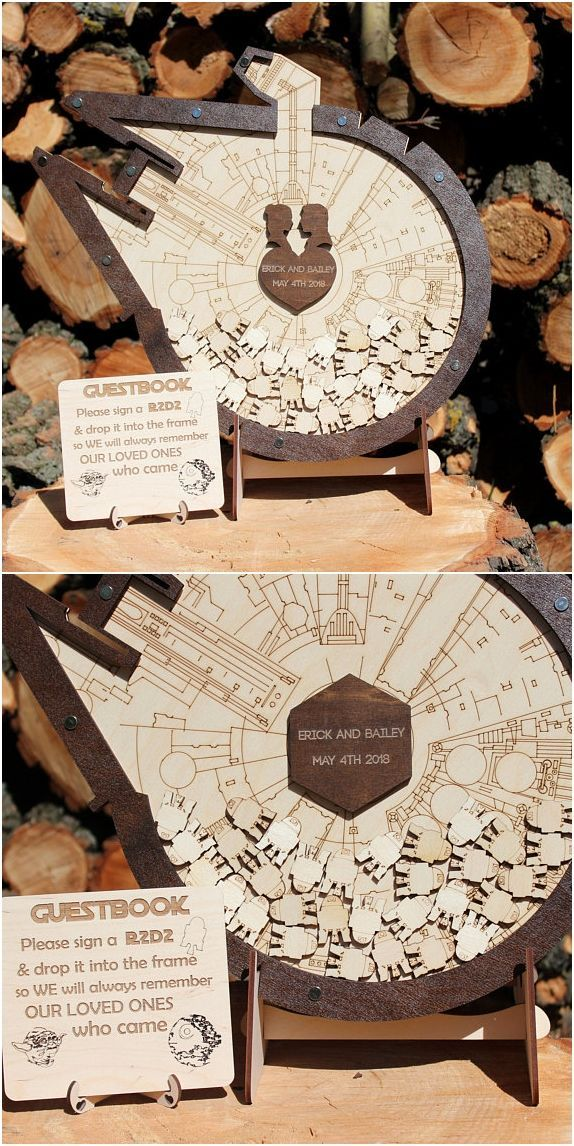 Star wars wedding guest book inspired wedding guest book alternative, Millennium Falcon wedding guest book, Birthday guest book, Star Wars