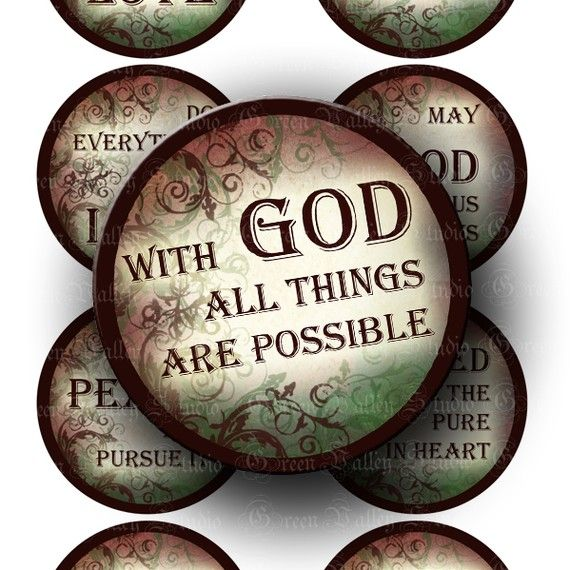 Digital Images Sheet Inspirational Quotes Religious Sayings Christian God Phrases Love Two Inch Circles for Magnets Crafts Tags (CTWO1) via Etsy