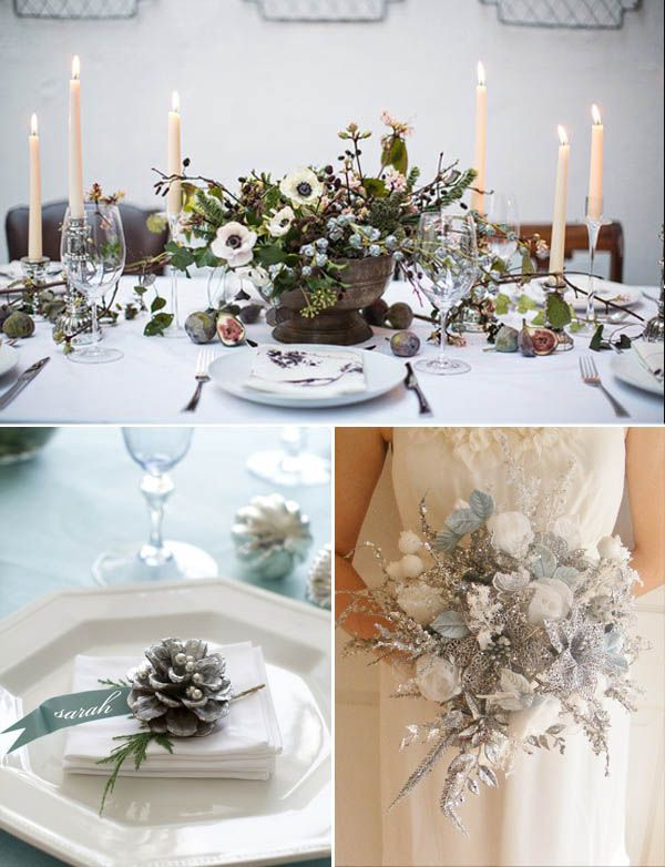 winter wedding my colors: green, blue and white