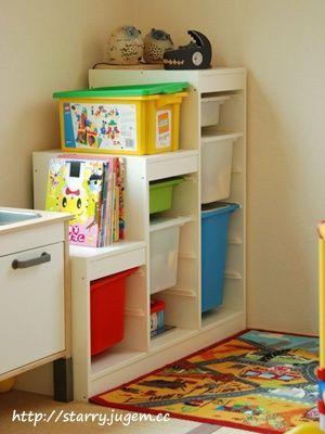 IKEA+Playroom+Ideas | Height of Trofast next to Ikea kitchen | Playroom Ideas