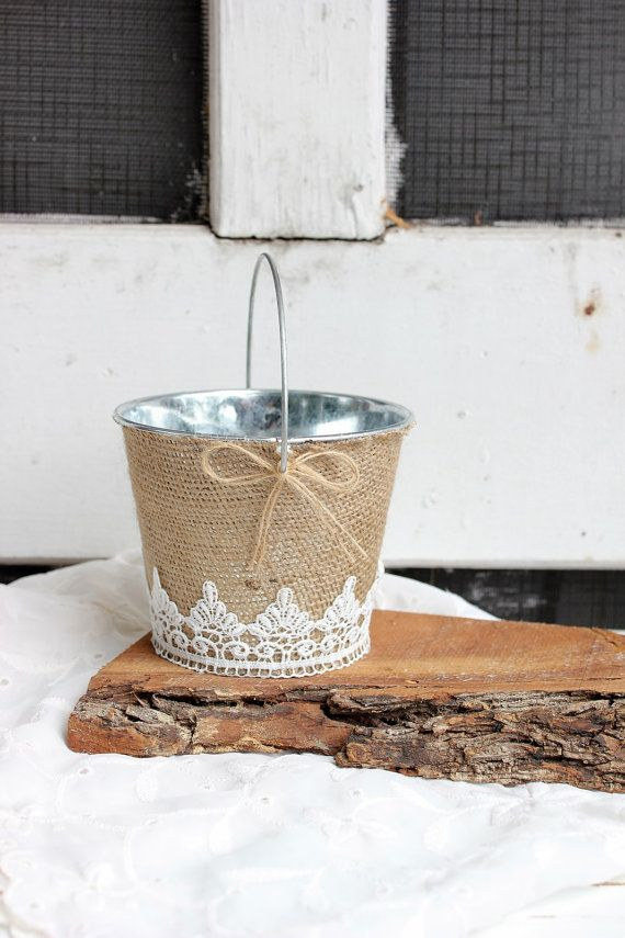 small flower girl burlap bucket / basket . white scalloped lace . shabby chic flower girl basket on Etsy, $24.00