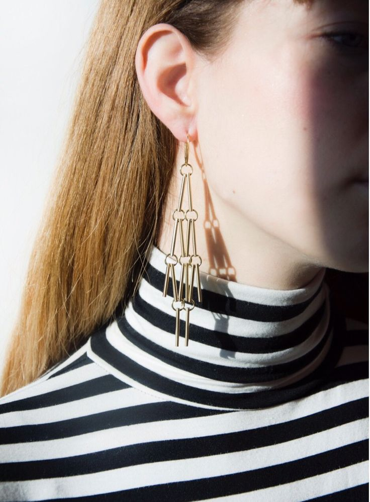 Simple stripes and gold earrings from ASTRO collection by Anna Orska.