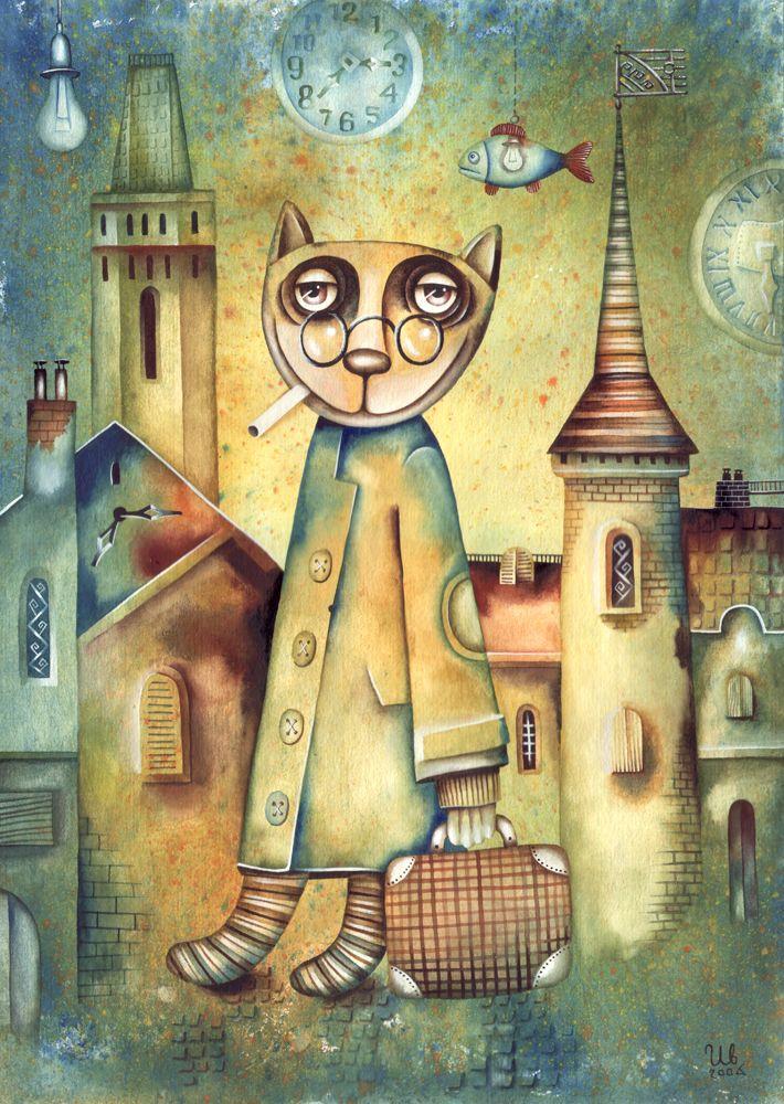 Returning by Eugene Ivanov, watercolor, 2006.  #eugeneivanov #funnycats #funny #cat #@eugene_1_ivanov