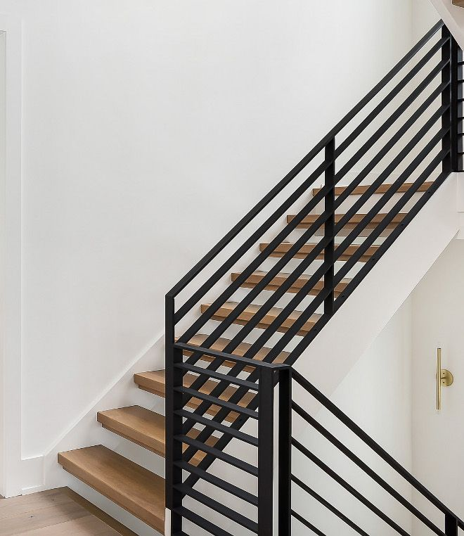 Metal Railing Staircase Metal Railing The Staircase Features White   Modern Metal Stair Railing   Interesting   Horizontal Slat   Curved Metal   Low Cost   Before And After