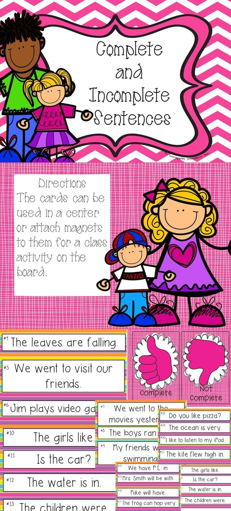 This a fun activity for the elementary language arts classroom. This can be used in  whole group, small group, or in a center to work on complete and incomplete sentences.