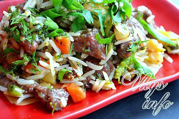 рецепт Говядина с овощами и рисом по-китайски
