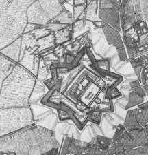 Il Castello sotto assedio nella pianta di Marcantonio dal Re
