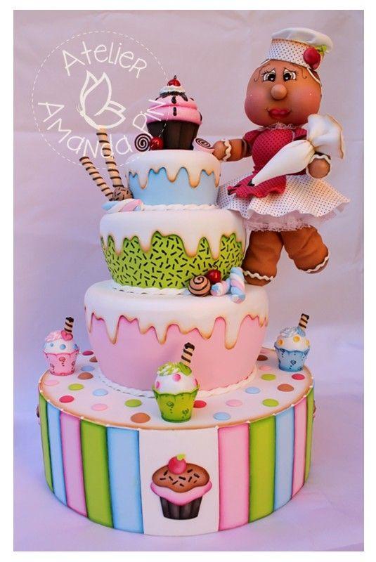 Cupcake Party - Bolo Cenográfico todo em E.V.A - By Atelier Amanda Pin
