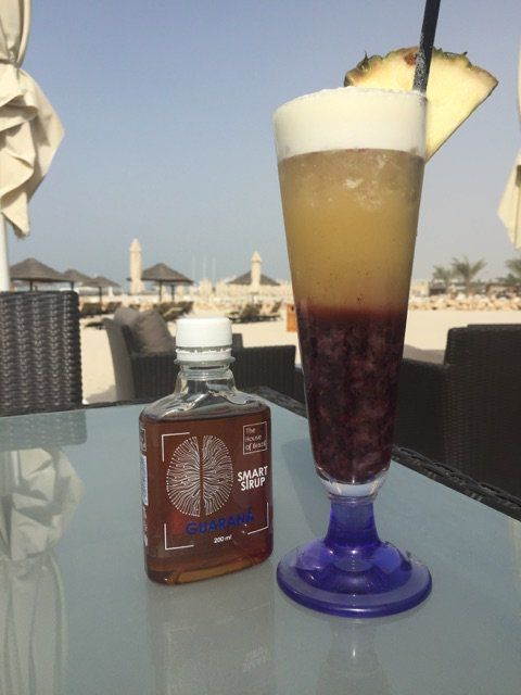 Black Guarana Dragon mocktail, born in Dubai.  Dragon fruit, blackberry, pineapple, Smart Syrup Guarana, lime cordial