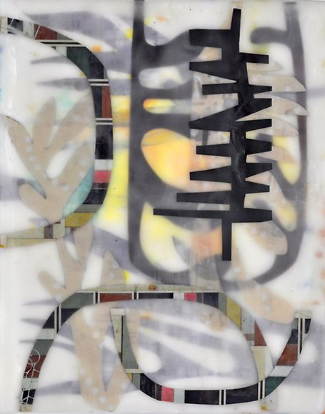 """Chin Yue, Artist, Pulse, 2011, encaustic collage on wood, 10"""" x 8"""" , 2011, """"These encaustic paintings & collages are made by layering hot wax on clay boards and wooden cradles."""" narrative from website"""