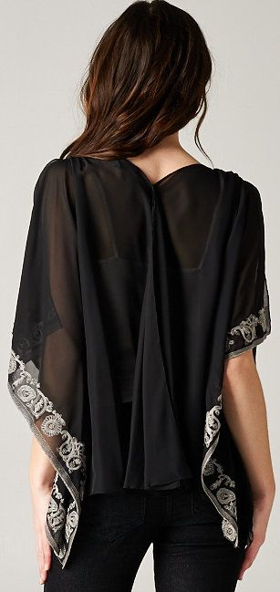 Embroidered Flutter Tunic in Black Chiffon