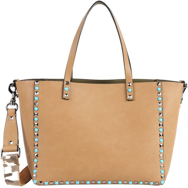 INZI Studded Tote With Guitar Strap (400 BRL) liked on Polyvore featuring bags, handbags, tote ...