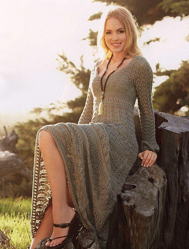 Платье с ажурными узорами - схема вязания спицами. Вяжем Платья на Verena.ru