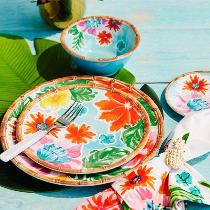 Tropical 12-Piece Melamine Dinnerware Set with 4 Bonus Appetizer Plates, available at #surlatable