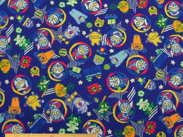 バッグ、スモック、キンチャク袋など、男の子の入園入学グッズ制作に!「ウルトラマンM78」コットンオックスプリント(ブルー)   110cm巾 綿100%   - そーいんぐ・すていしょんコミニカ