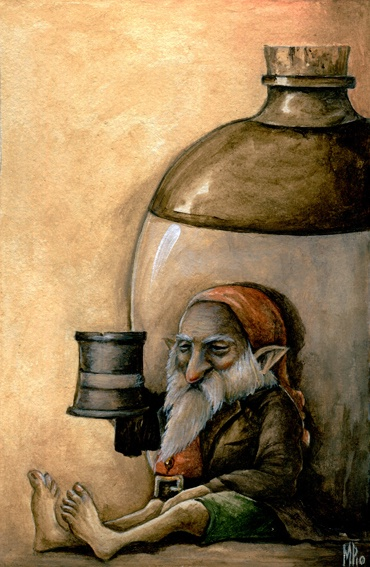 A gnome /ˈnoʊm/ is a diminutive spirit in Renaissance magic and alchemy, first introduced by Paracelsus and later adopted by more recent authors including those of modern fantasy literature. Its characteristics have been reinterpreted to suit the needs of various story-tellers, but it is typically said to be a small, humanoid creature that lives underground.