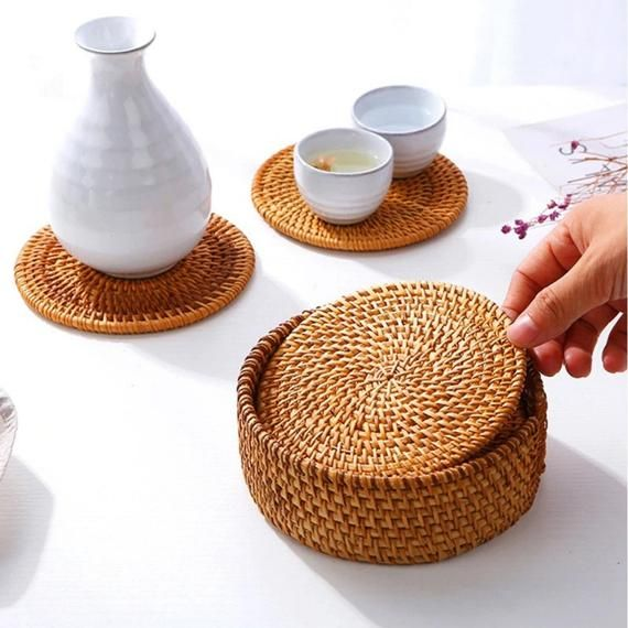 Round Natural Rattan Coasters Bowl Pad Handmade Coasters Etsy Handmade Coasters Kitchen Accessories Decor Cup Mat