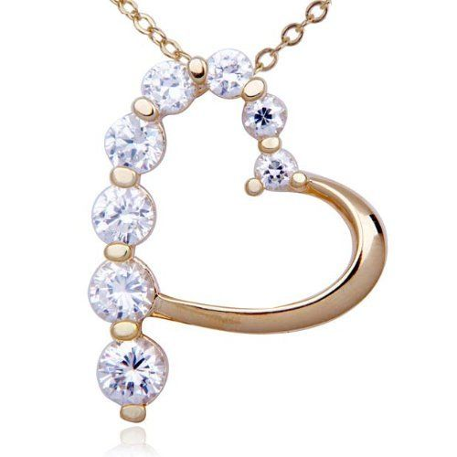 Gold Over Sterling Silver and Graduated Round-Cut Cubic Zirconia Heart Pendant Joolwe. $29.99. Save 40%!