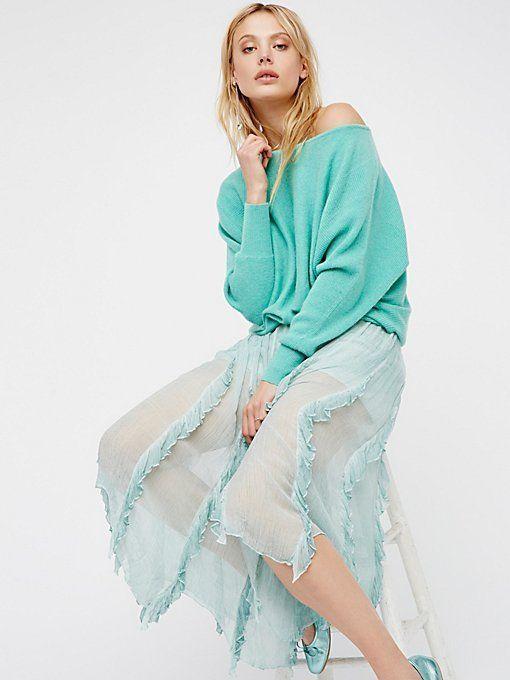 New Free People Follow Me Ruffle Skirt Bohemian Midi 100% Viscose Misty  Sage 4 #