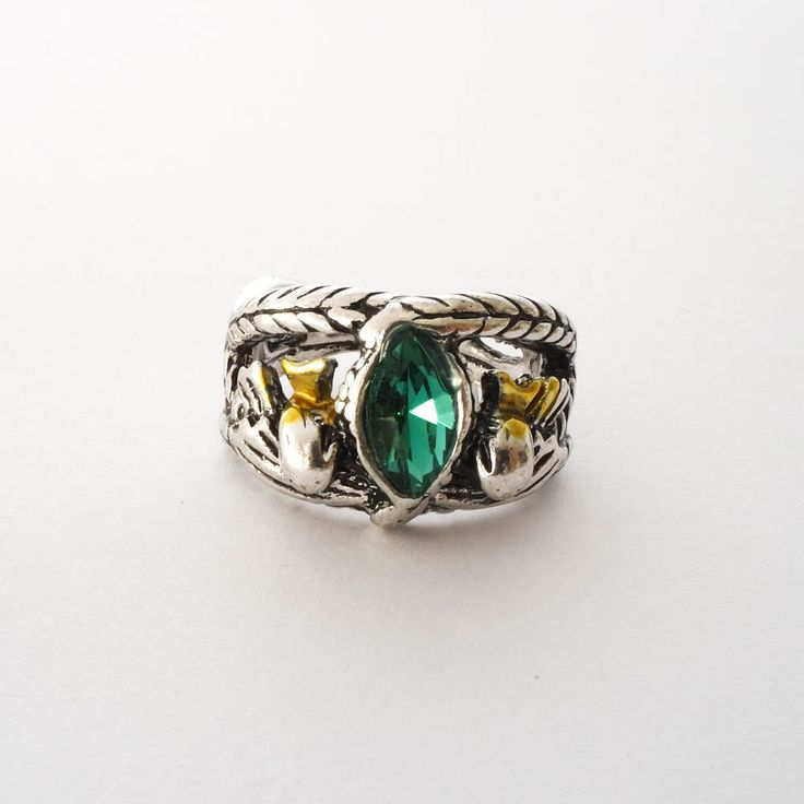 The Ring of Barahir worn by Aragorn is an ornate silver plated ring, given to Aragorn's ancestor, by an Elf Lord known as Finrod Felagund, as a reward for saving his life. Aragorn received the ring due to his kingly linage and eventually gives the ring to Arwen, as a sign of their marriage.  www.propsandcollectibles.com  #lordoftherings #lotr #elvenqueen #thering #theonering #hobbit #leaf #fellowshipofthering #aragorn #arwen