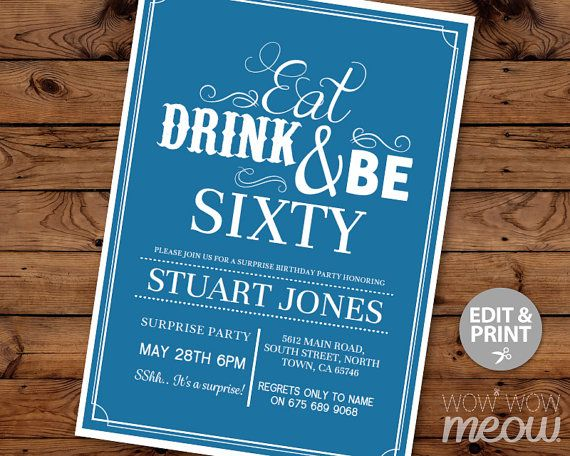 60th Invitation Eat Drink And Be Sixty 60 Birthday Invite