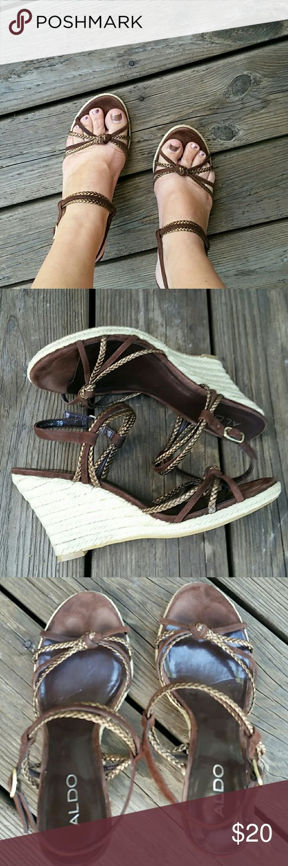 Shoe sale Aldo wedge espadrille sandal Moderately worn. Great condition.  Wedge sandal. Aldo Shoes Espadrilles