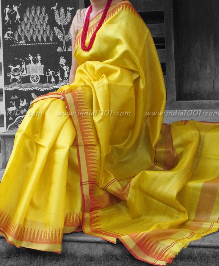 Stunning Woven Tussar Silk Saree with Temple Border | India1001.com
