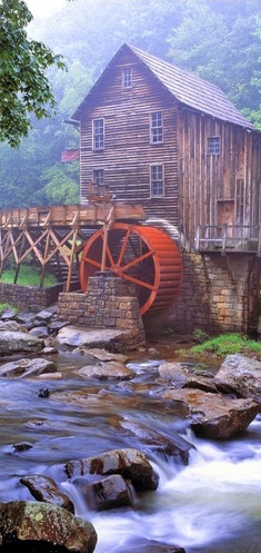 Foggy day at the Glade Creek Grist Mill in Babcock State Park ~ Fayette County, West Virginia