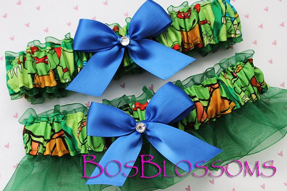 But then there's this one! choose bow color - TMNT Teenage Mutant Ninja Turtles fabric handmade into bridal prom garters - wedding garter set - size xs s m l xl xxl