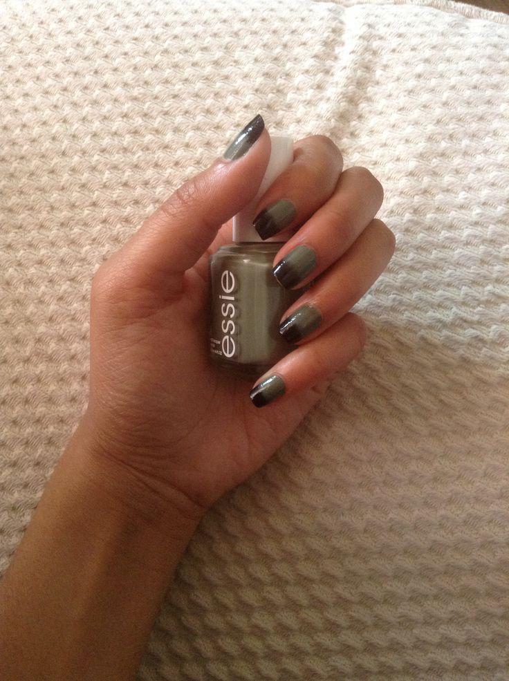 green x black army nail art